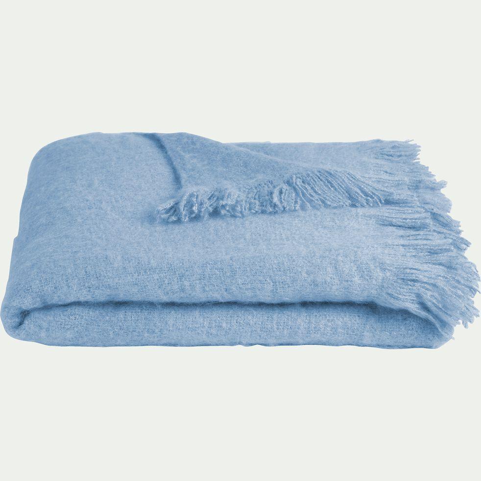Plaid effet mohair à franges en acrylique - bleu clair 130x170cm-VALENTINE
