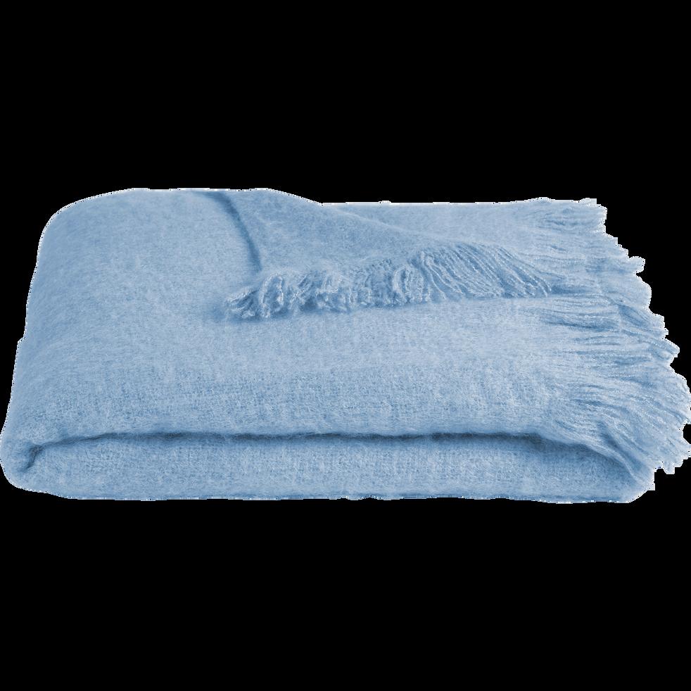 Plaid effet mohair bleu clair 130x170cm-VALENTINE