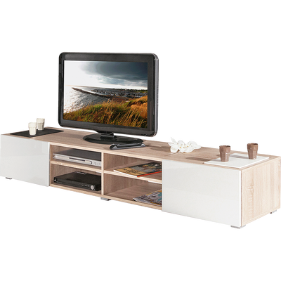 Meuble TV blanc laqué et coloris chêne 2 tiroirs-MAXO