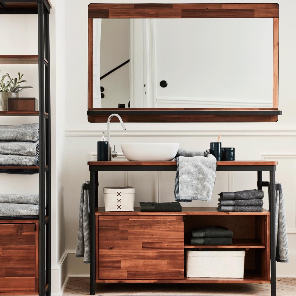 Miroir rectangulaire de salle de bains en acacia et métal 120cm-Kota