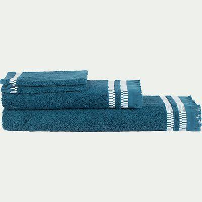 Lot de 2 gants de toilette en coton peigné - bleu figuerolles-Garance