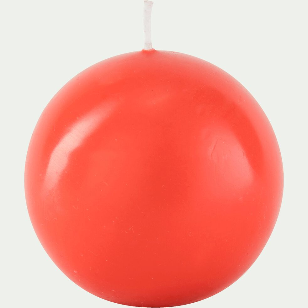 Bougie ronde rouge azérole D10cm-HALBA