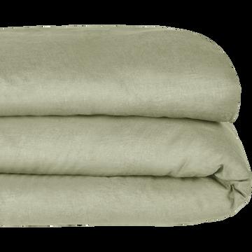 Housse de couette en lin Vert olivier 240x220cm-VENCE