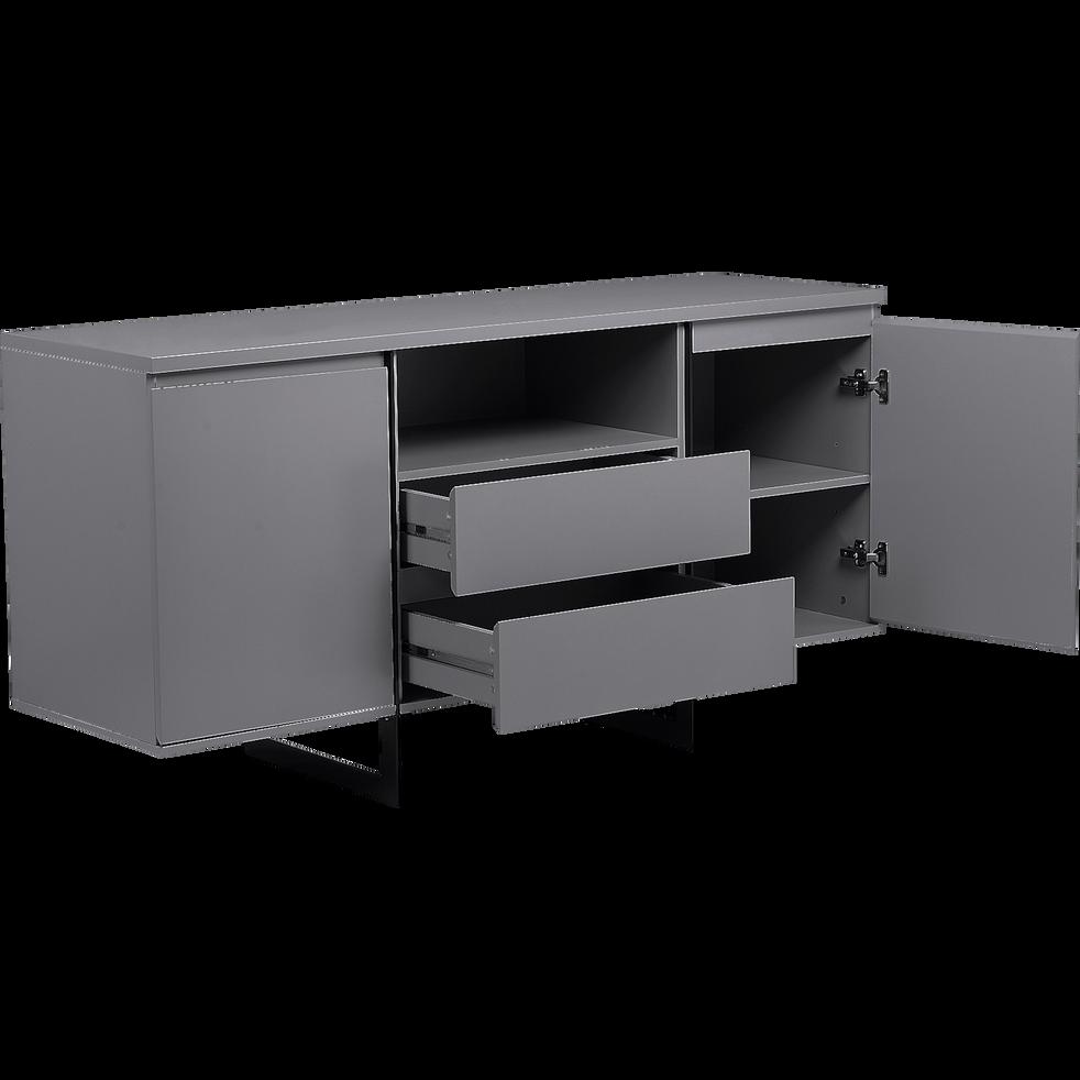 buffet bas gris restanque avec pi tement en acier noir martelio buffets alinea. Black Bedroom Furniture Sets. Home Design Ideas