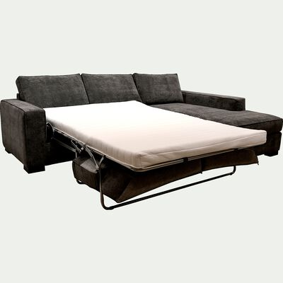 Canapé d'angle droit convertible en tissu gris restanque-CALIFORNIA