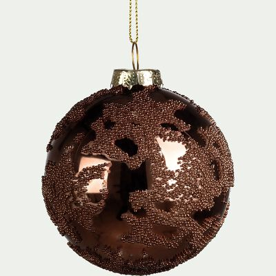 Boule de Noël en verre bronze D8cm-MANDE