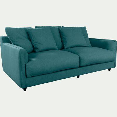 Canapé 3 places fixe en tissu bleu niolon-LENITA