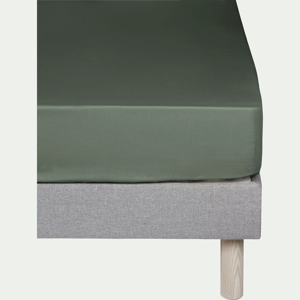 Drap housse en coton - vert cèdre 90x200cm B25cm-CALANQUES