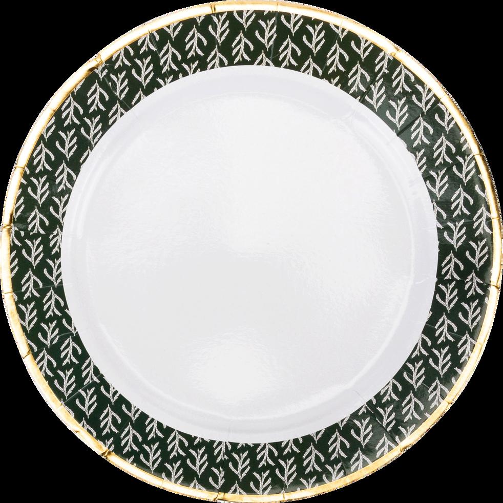 Lot de 8 assiettes en carton motifs cyprès D25cm-SAZE