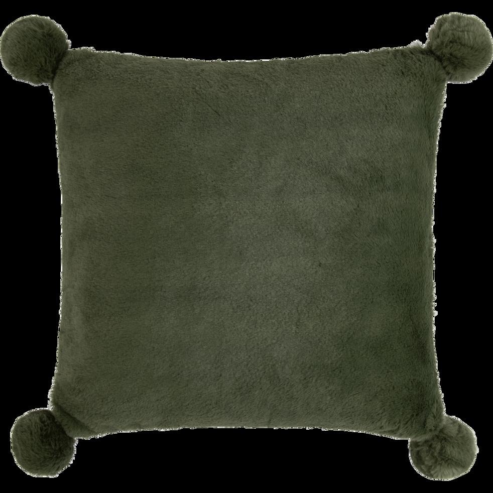 Coussin vert cèdre 40x40cm avec pompons pour enfant-ISABY
