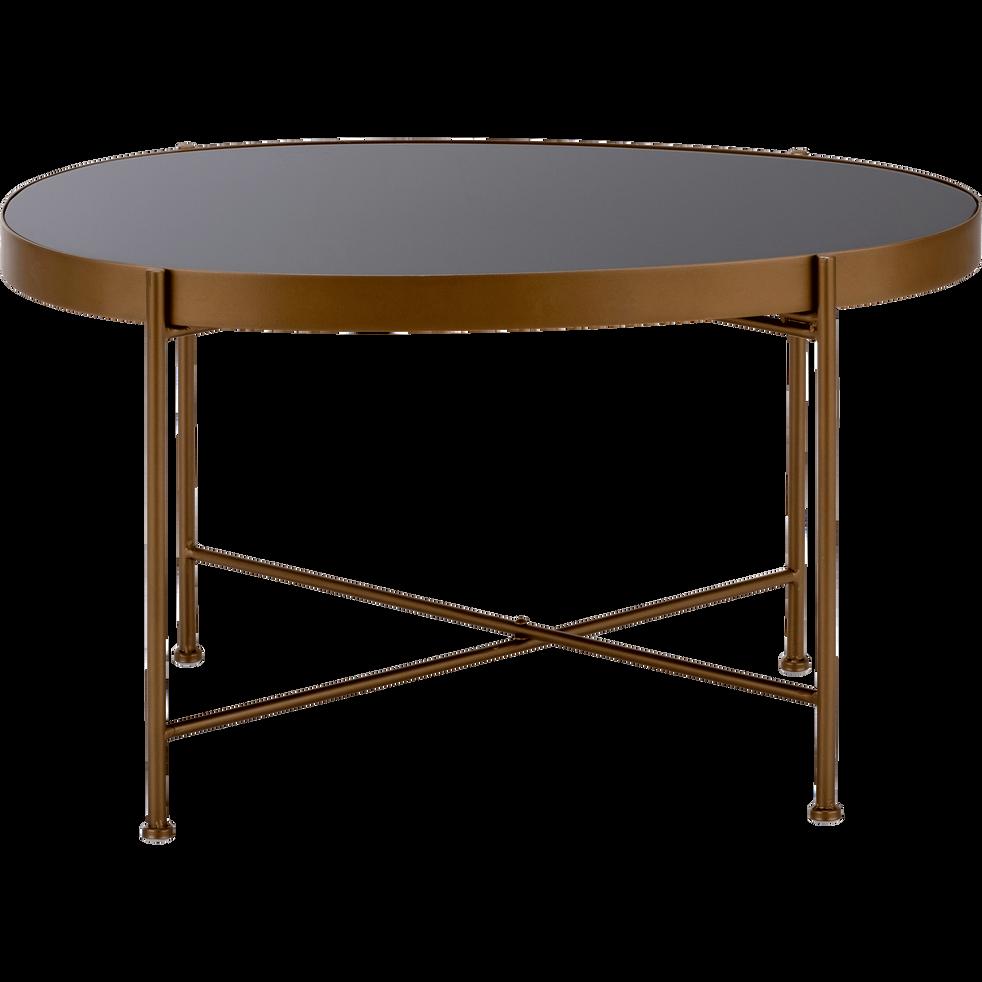 table basse en acier dor e avec plateau en verre noir. Black Bedroom Furniture Sets. Home Design Ideas