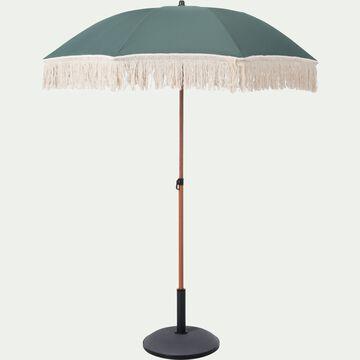 Parasol à franges et pied de parasol  - vert D160cm