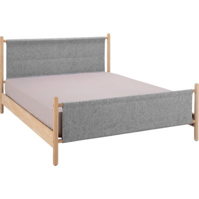 Lit 2 places structure en frêne et habillage en feutrine Gris - 160x200 cm-THEOULE