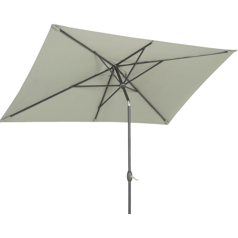 Parasol avec mat inclinable et manivelle 2x3m vert olivier-MUY