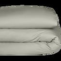 Housse de couette en percale de coton Vert olivier 240x220cm-FLORE