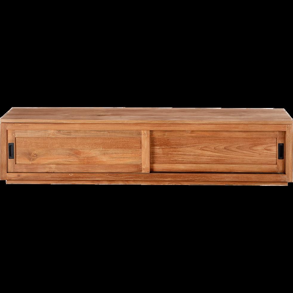 meuble tv en teck massif recycl avec 2 portes coulissantes livr mont emotion meubles tv. Black Bedroom Furniture Sets. Home Design Ideas