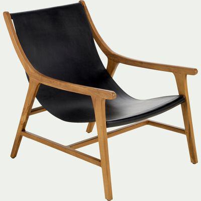 Fauteuil en cuir et bois - noir-RENACO