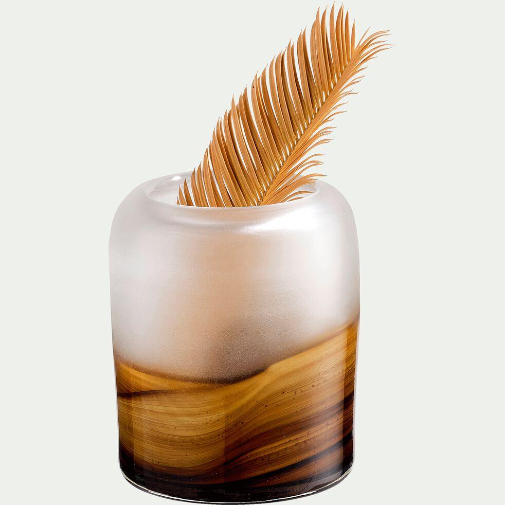 Vase ambré en verre - orangée D10xH11,5cm-BOJANA