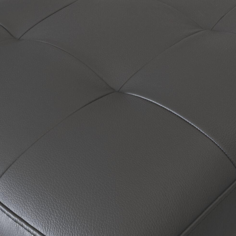 Pouf en cuir avec coffre - taupe foncé-MAURO