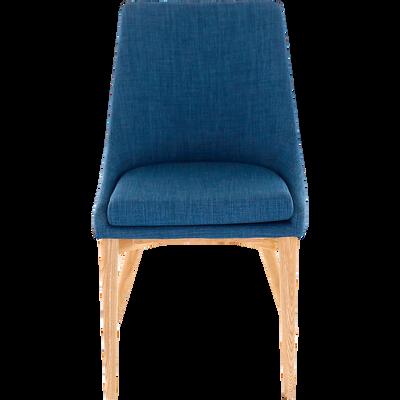 Chaise en tissu bleu piètement bois-ABBY