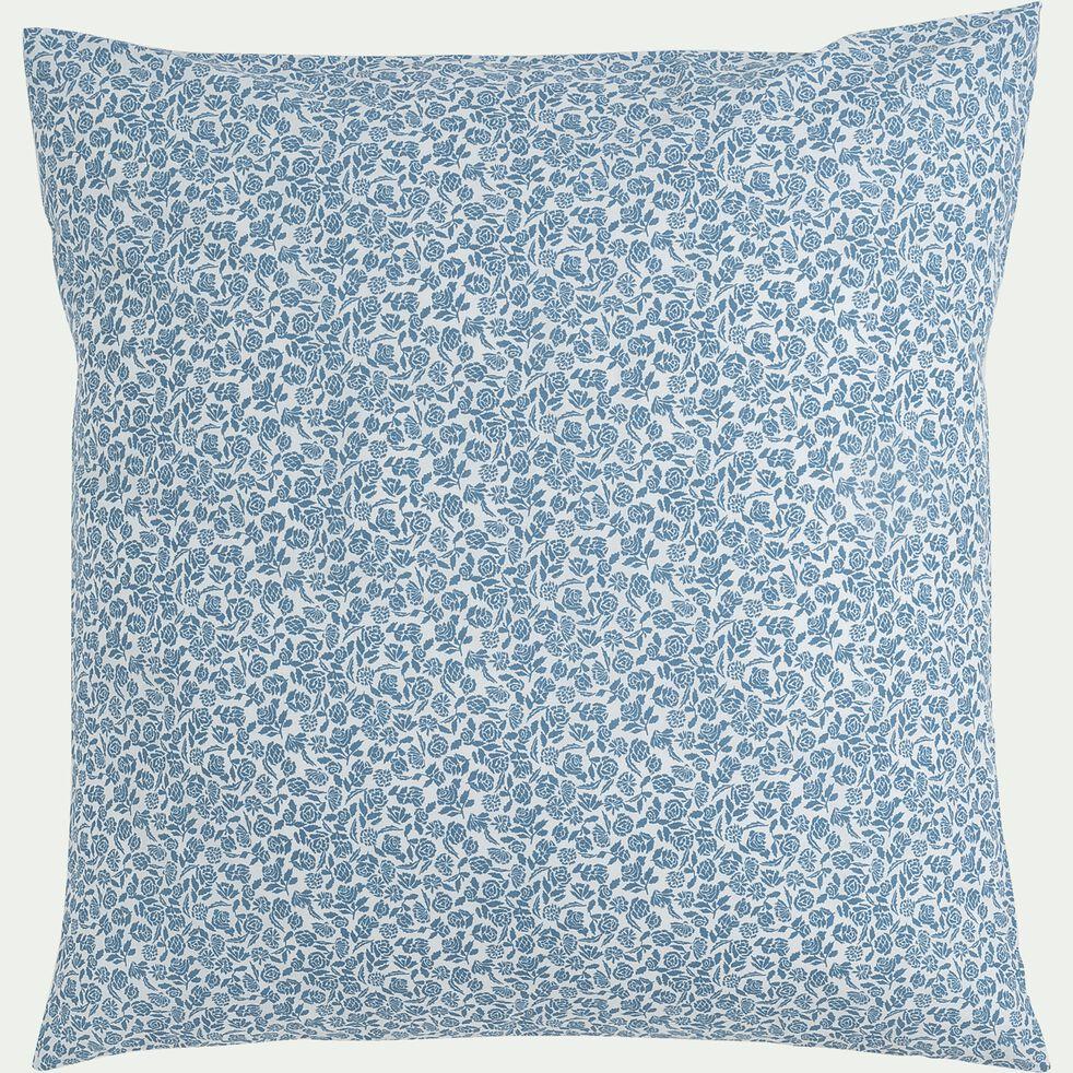 Housse de couette et 2 taies d'oreiller en coton motif floral – bleu 240x200cm-ROSAE
