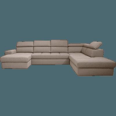Canapé d'angle en forme de U convertible en tissu grège avec méridienne à gauche-TONIN