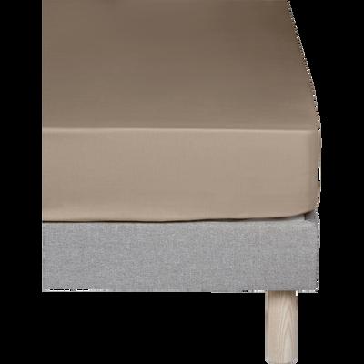 Drap housse en coton Brun châtaignier 140x200cm-bonnet 25cm-CALANQUES