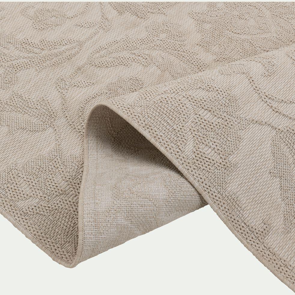 Tapis intérieur et extérieur inspiration dentelle - écru et gris 160x230cm-TARA