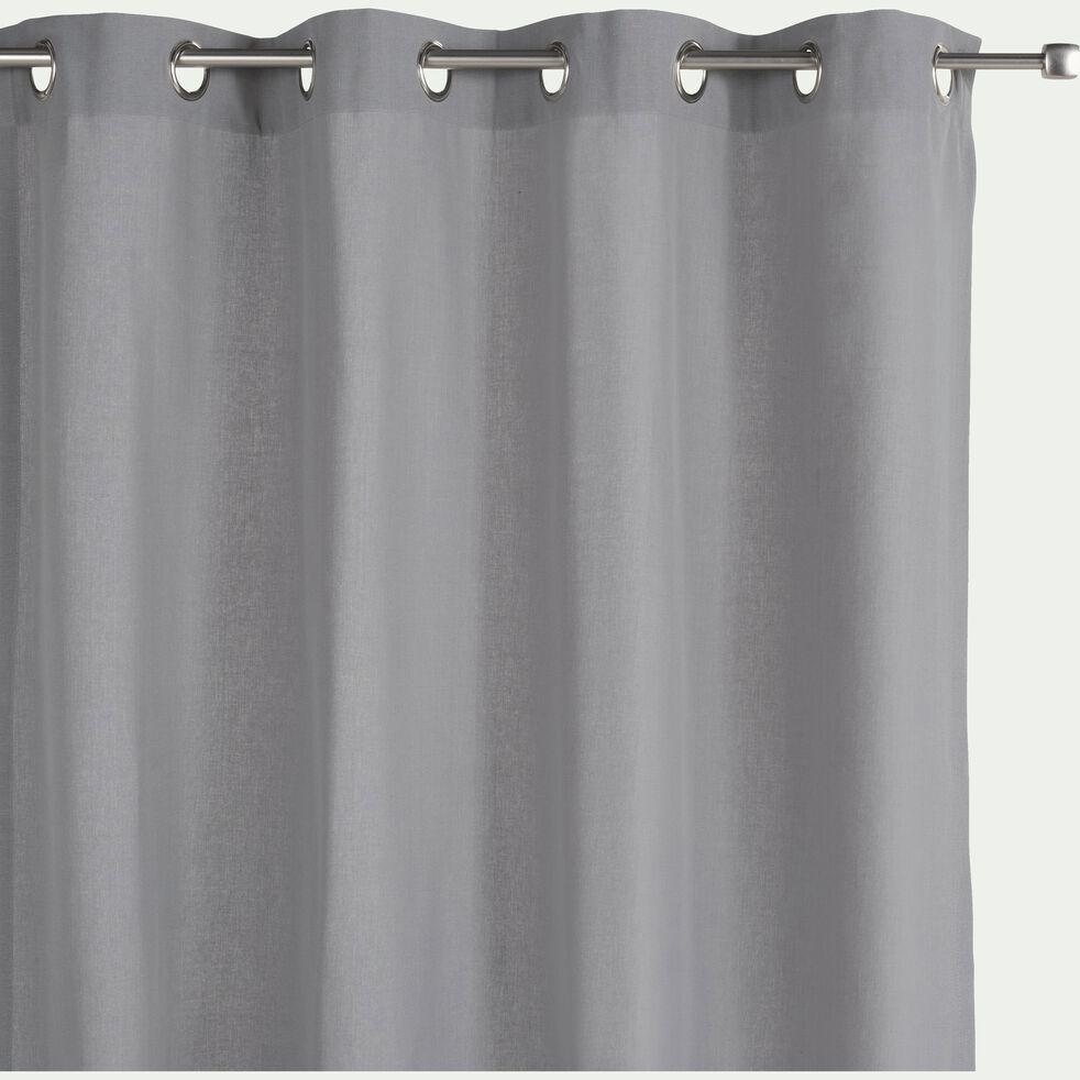 Rideau à oeillets en coton gris restanque 140x360cm-CALANQUES
