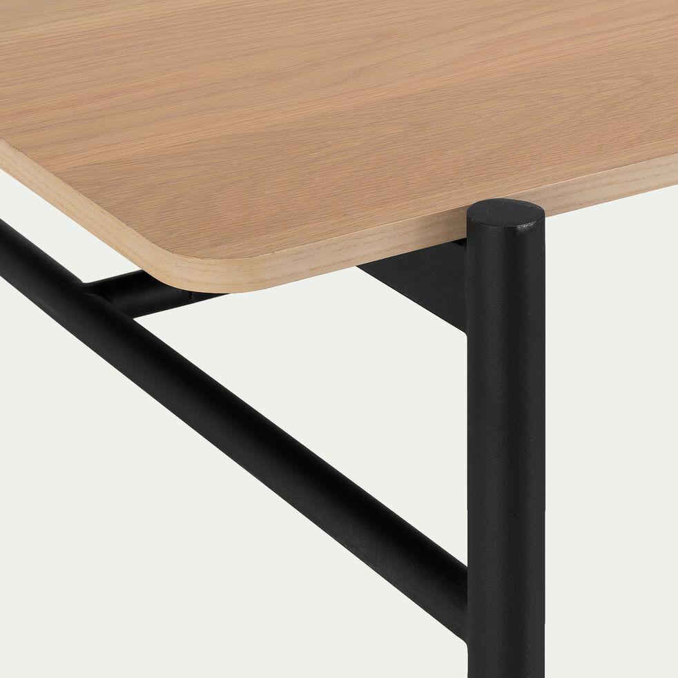Table extensible plaquée chêne piètement métal - 6 à 10 places-NICE