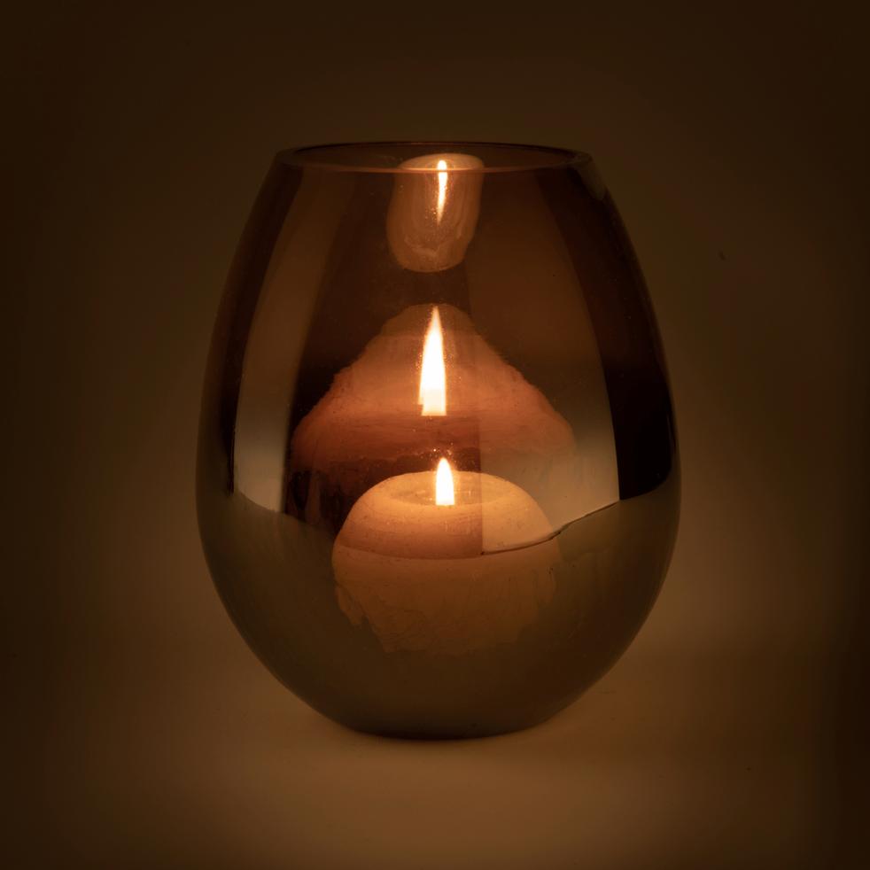 Photophore en verre brun craquelé D22xH26-ZETA