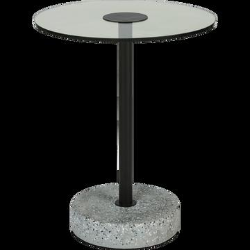 Bout de canapé en verre et terrazzo noir-PRAONA