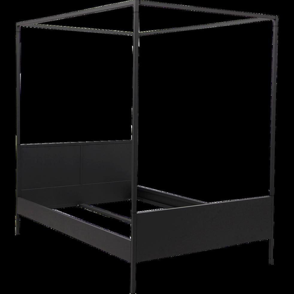Lit 2 places à baldaquins en métal Noir - 140x200 cm-ANVERS