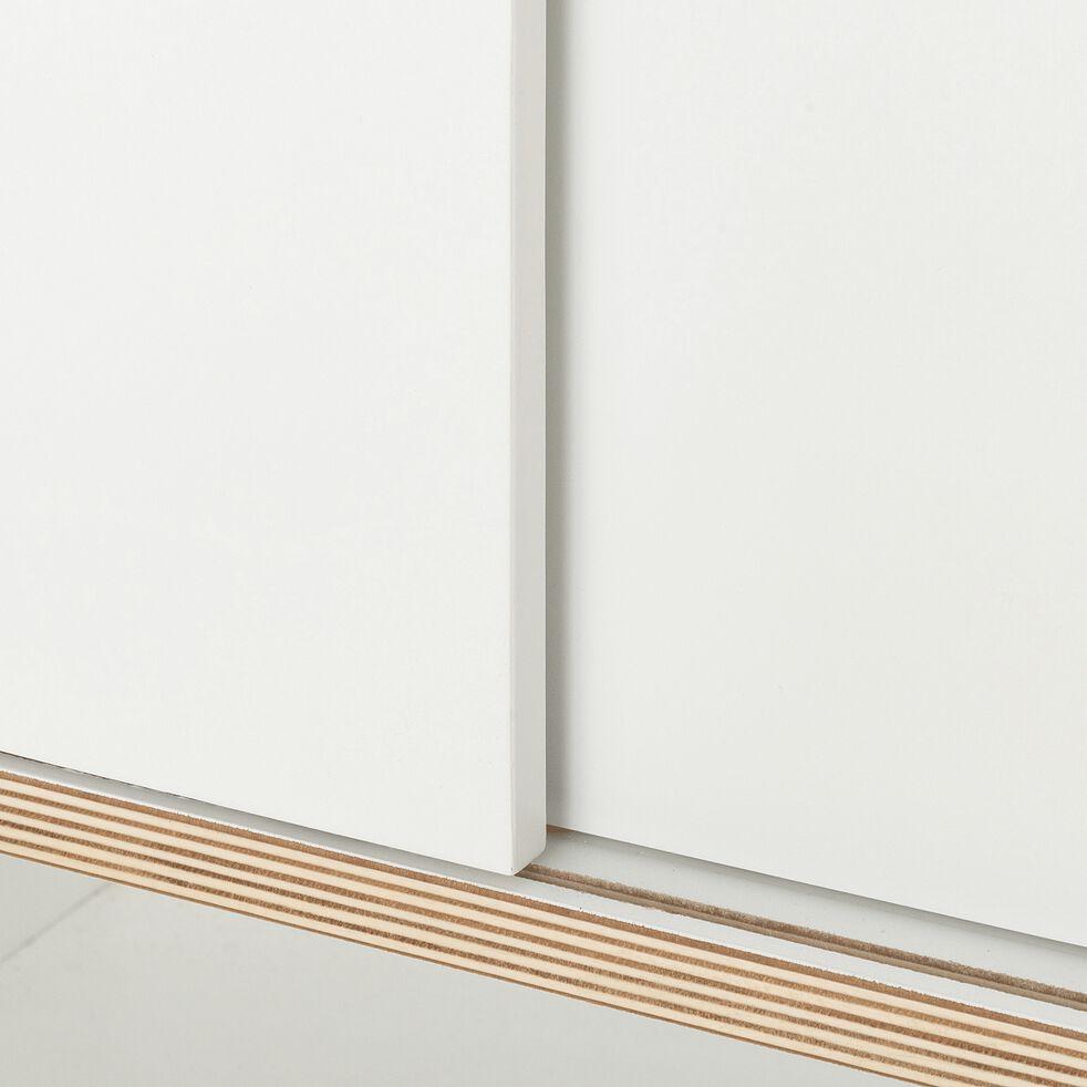 Meuble sous vasque simple en bois - blanc-MUGEL