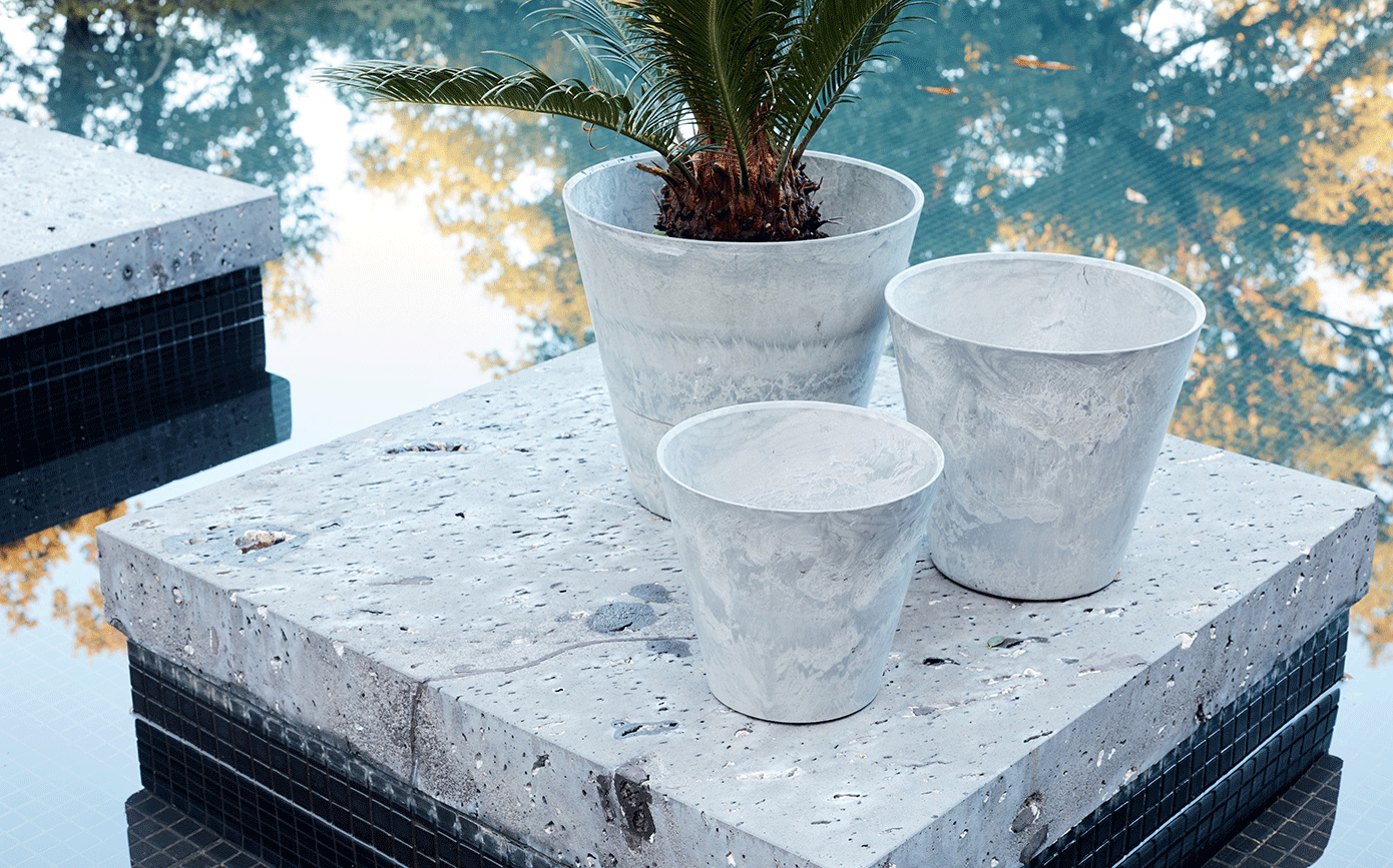 Pot à réserve d'eau en composite gris D32xH29cm-Artstone