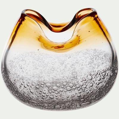 Vase en verre jaune H14cm-TIBRE