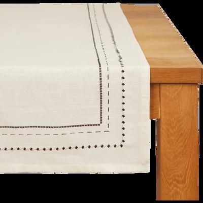Chemin de table en coton blanc et noir 50x200cm-MEDINE