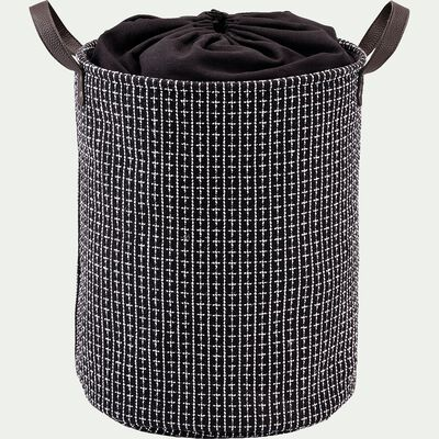 Panier à linge en tissu - noir H50xD38cm-TANGUY