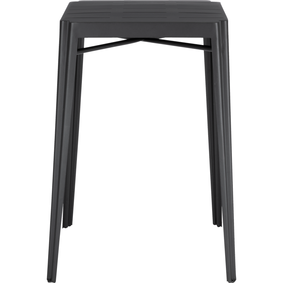 TRIVIA - Table haute carrée en métal gris anthracite