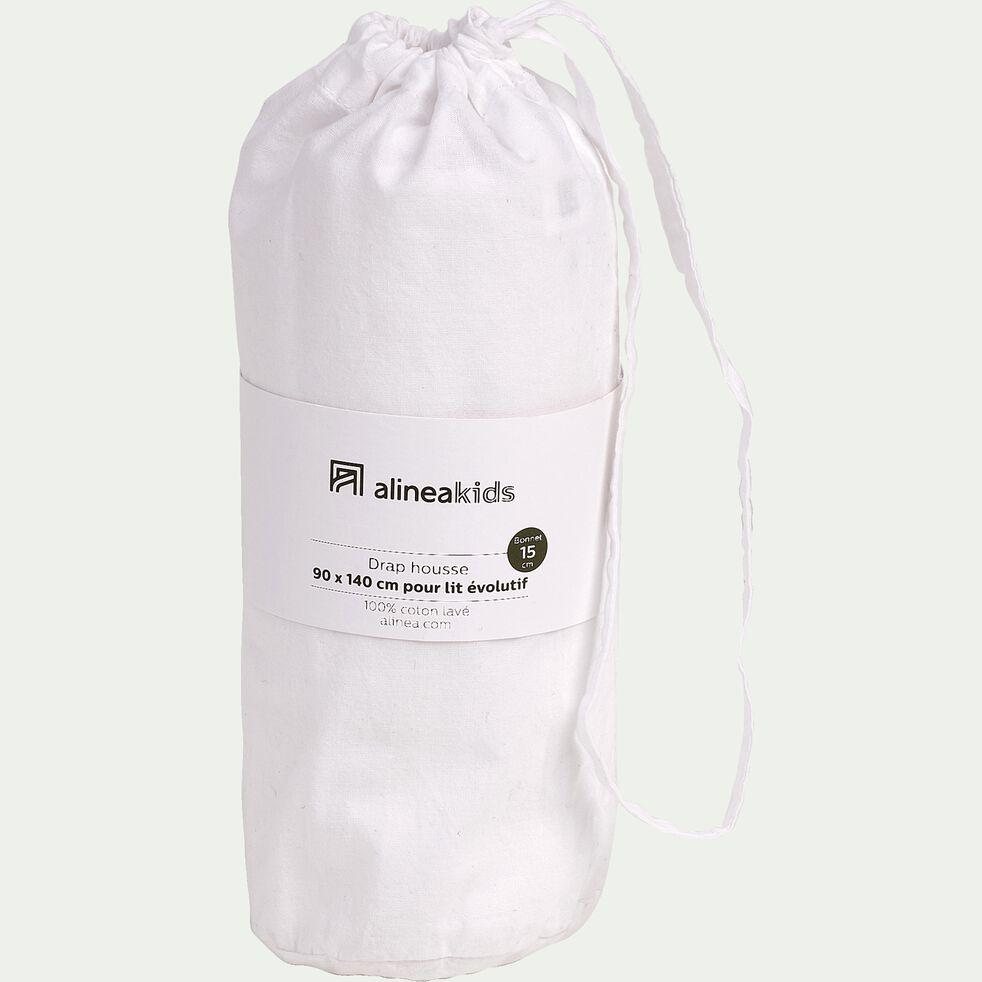 drap housse en coton lavé blanc 90x140 cm-CALANQUES