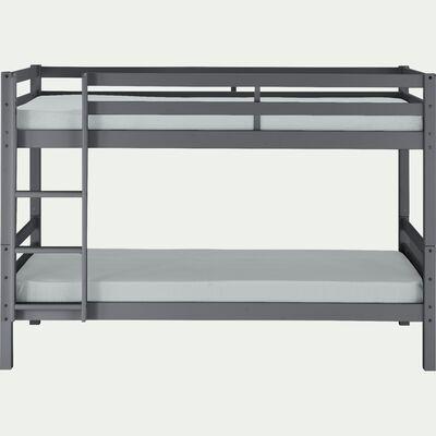 Lit superposé modulable en bois 90x200cm avec sommier à lattes - gris-NORIS