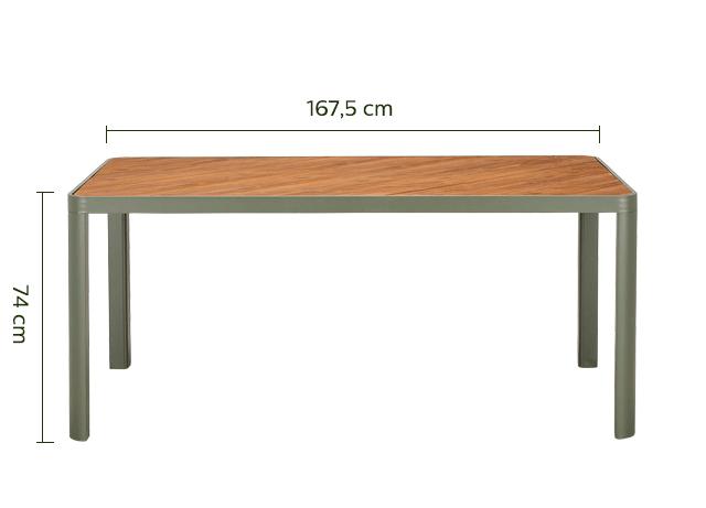 Table de jardin en aluminium vert cèdre (4 à 6 places)-ALEP