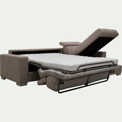 Canapé d'angle réversible convertible en microfibre - marron clair-MAURO