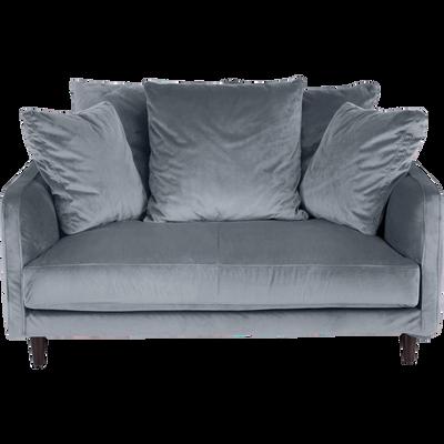 Canapé 2 places fixe en velours gris restanque-LENITA