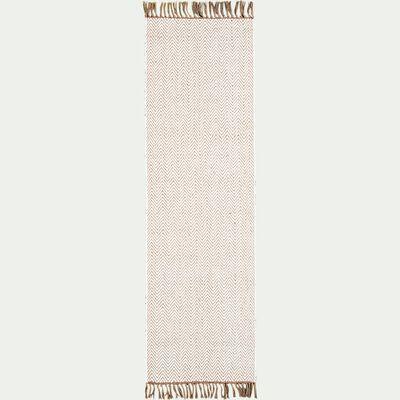Tapis de couloir et laine et jute - blanc 60x200cm-TURAU
