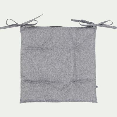 Galette de chaise de jardin en coton bicolore déperlant - gris-MIKO