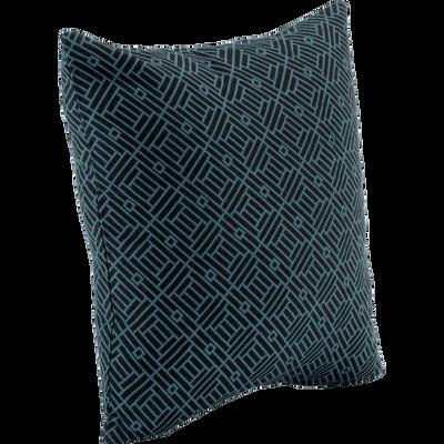Coussin en coton à motifs géométriques noir et vert 40x40cm-MOZAÏQUE