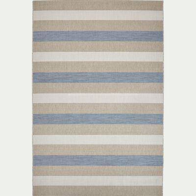Tapis tissé plat motifs géométriques bleu 200x290cm-ELEGANCE