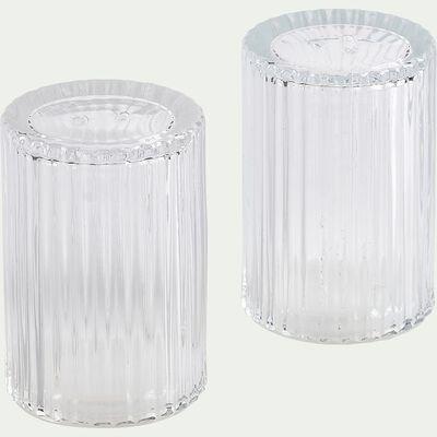 Set de salière et poivrière en verre côtelé - transparent H8cm-BICOU