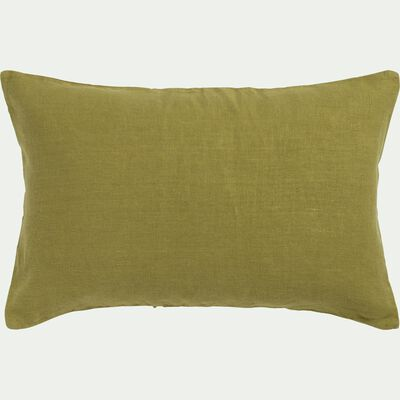 Coussin en lin lavé - vert garrigue 40x60cm-VENCE